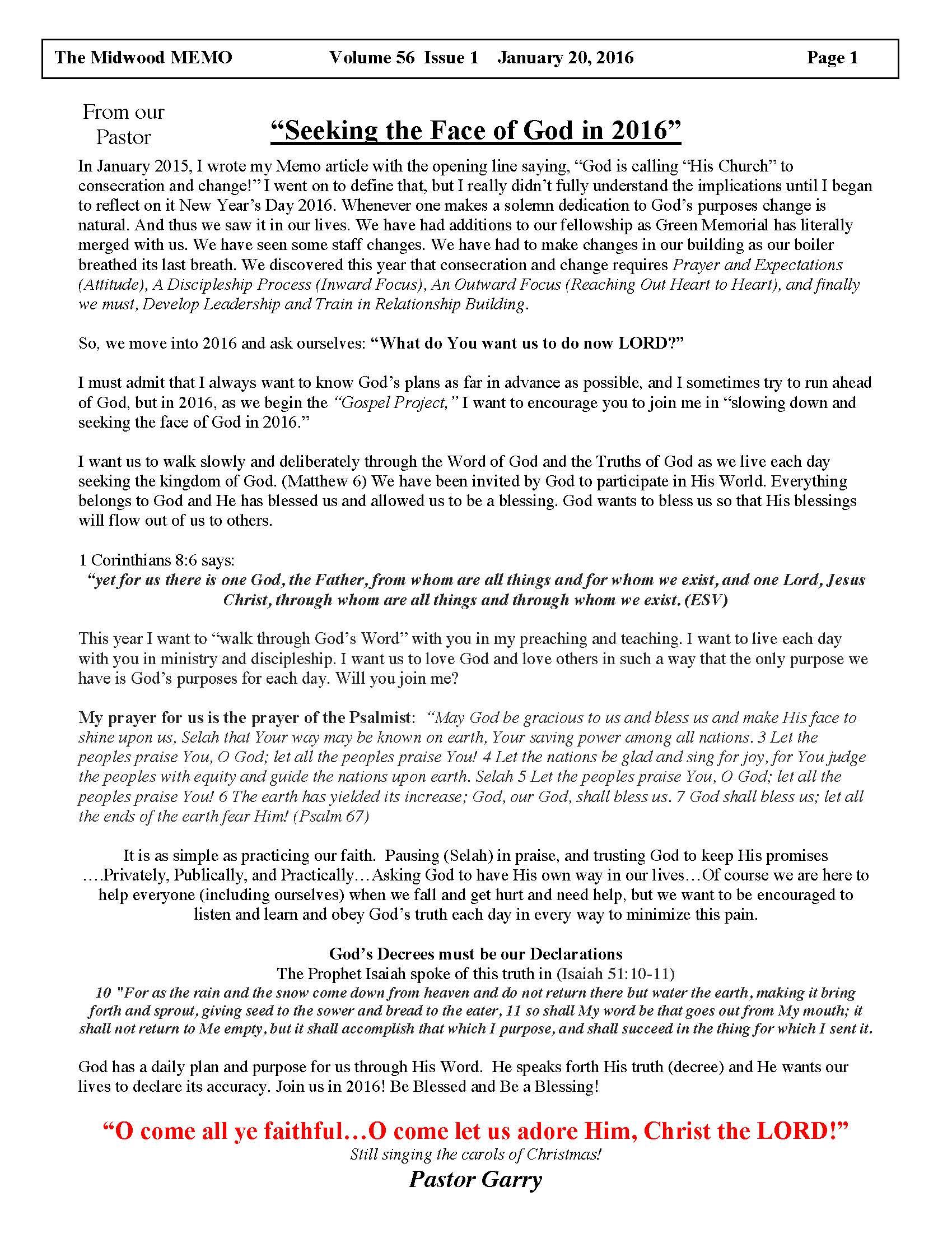 MEMO Article Jan 2016 | Midwood Baptist